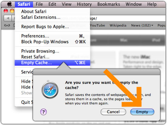 Safari 8.0 - 10.0 (Mac) - Clearing Cache and Cookies